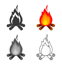 campfire with firewood icon of vector image