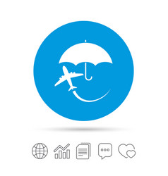 flight insurance sign icon safe travel symbol vector image