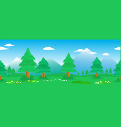 Pines seamless line in mountain landscape vector