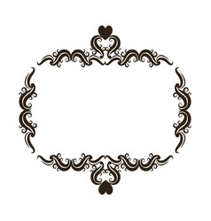 Floral romantic heart ornament scrolls frame vector
