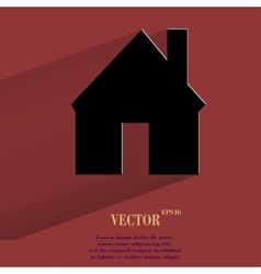 Home flat modern web button with long shadow and vector