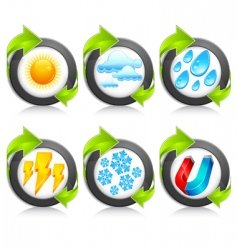 Weather round icons amp arrow vector