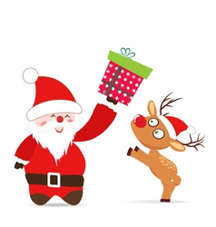 Santa claus and deer gift greeting card vector