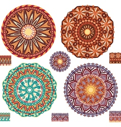 Round ornamental geometric patterns vector