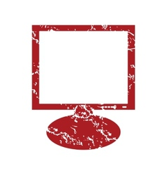 Red grunge monitor logo vector