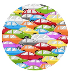 Traffic jam with cars circle icon isolated on vector