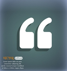 Double quotes at the beginning of words icon vector