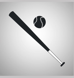 Baseball bat and ball black and white vector