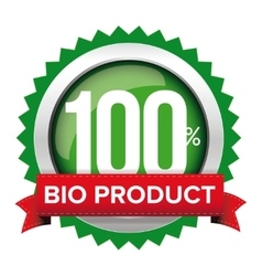 Bio product badge with red ribbon vector image vector image