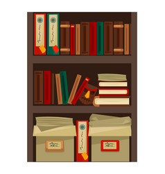 Bookshelf with papers vector