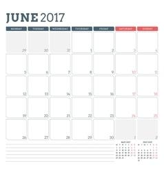 Calendar planner template for june 2017 week vector