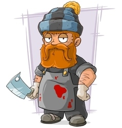 Cartoon redhead butcher in cap vector