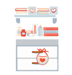 Chest of drawers with cosmetics and books on vector