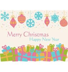 Christmas background - decorative balls and presen vector