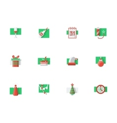 Christmas holidays flat color icons set vector image vector image