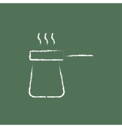 Coffee turk icon drawn in chalk vector