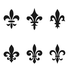 Collection of fleur de lis symbols black vector image