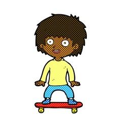 comic cartoon boy on skateboard vector image vector image