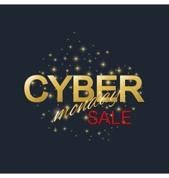 Cyber monday sale background golden label cyber vector