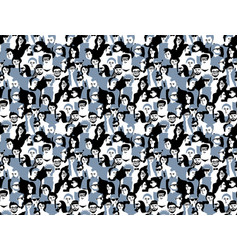 different people crowd seamless pattern gray and vector image vector image