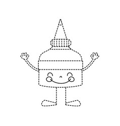 Dotted shape kawaii happy glue bottle with arms vector