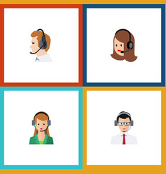 Flat icon call set of secretary help service and vector