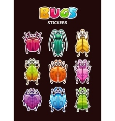 Funny cartoon style bugs stickers vector image vector image