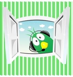 Funny green bird looking into open window vector