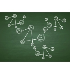 Green chalkboard with team communication drawing vector