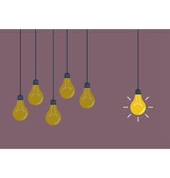 Hanging light bulbs vector