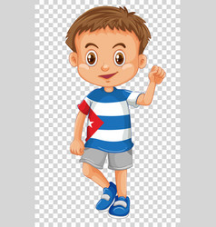 Happy boy wearing shirt of cuba flag vector