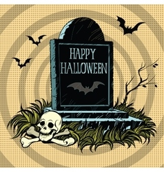 Happy Halloween grave tombstone cemetery skull and vector image