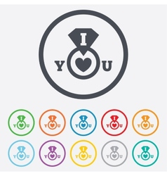 I Love you sign icon Valentines day symbol vector image
