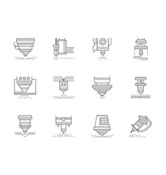Industrial lasers flat line icons set vector