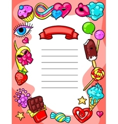 Kawaii diploma with sweets and candies crazy vector