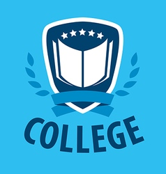 logo book and shield for college vector image vector image