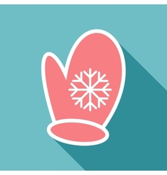 One pink mitten with snowflake vector image