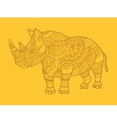 Rhinoceros color drawing raster vector image vector image