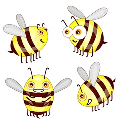 Set cartoon cute bees isolated on white background vector