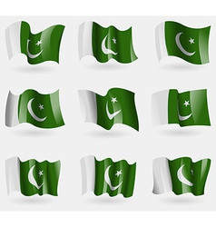 Set of Pakistan flags in the air vector image vector image