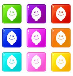 Smiling lemon fruit set 9 vector