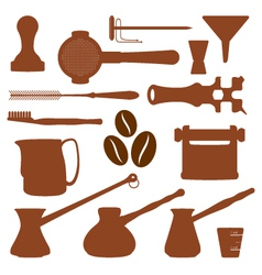 solid colors coffee set instruments vector image vector image