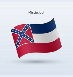 state of mississippi flag waving form vector image vector image