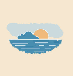 sun cloud seascape drawing abstract summer sunset vector image