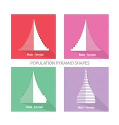 The different types of population pyramids graphs vector