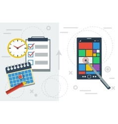 Time planning with app and paper vector