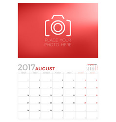 Wall calendar planner template for august 2017 vector