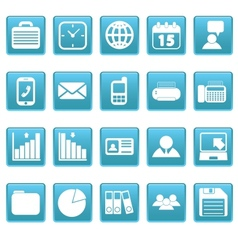 White business icons on blue squares vector image