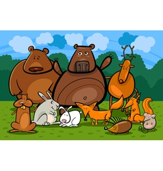 wild forest animals group cartoon vector image