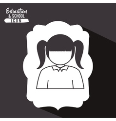 Girl kid inside frame design vector
